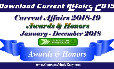 Awards and honors of last 12 months from January to December 2018 recommended for your various examinations