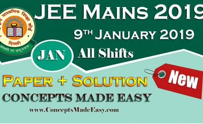 Download Solved Paper of JEE Mains Exam (Question Paper + Solution) held on 9th January 2019 - Morning Shift