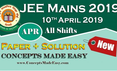 Download Solved Paper of JEE Mains Exam April 2019 (Question Paper + Solution) held on 10th April 2019 - All Shift