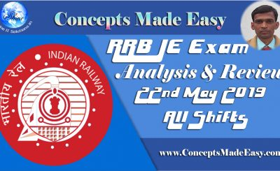 RRB JE Exam Analysis and Review of Question Paper asked in all shifts held on 22nd May 2019