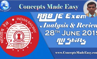 RRB JE Exam Analysis and Review of Question Paper asked in all shifts held on 28th June 2019