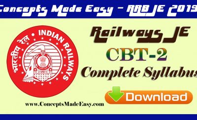 Railways Junior Engineer Examination 2019-20 - Complete Syllabus of CBT-2 Examination