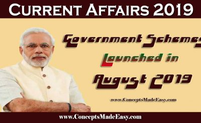 Government Schemes Launched in August 2019 for various Competitive Examination held in 2019-20