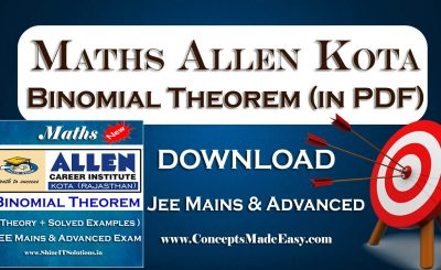 Download Binomial Theorem - Mathematics Allen Kota Study Material for JEE Mains and Advanced Examination (in PDF)