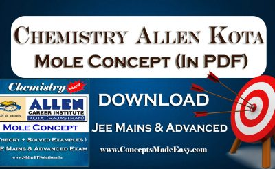 Download Mole Concept - Chemistry Allen Kota Study Material for JEE Mains and Advanced Examination (in PDF) Free of Cost