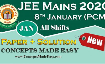 Download Solved Question Paper (Question + Solution) held on 8th January of JEE Mains Exam 2020 January All Shifts by Resonance Free of Cost from ConceptsMadeEasy.com