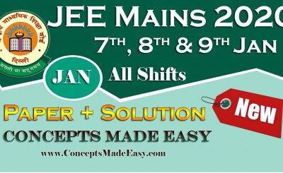 Download Solved Question Paper (Question + Solution) of JEE Mains Exam 2020 January All Shifts by Resonance Free of Cost from ConceptsMadeEasy.com