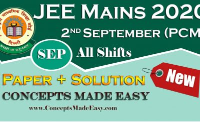 Download Solved Question Paper (Question + Solution) held on 2nd September of JEE Mains Exam 2020 September All Shifts by Allen Kota Free of Cost from ConceptsMadeEasy.com