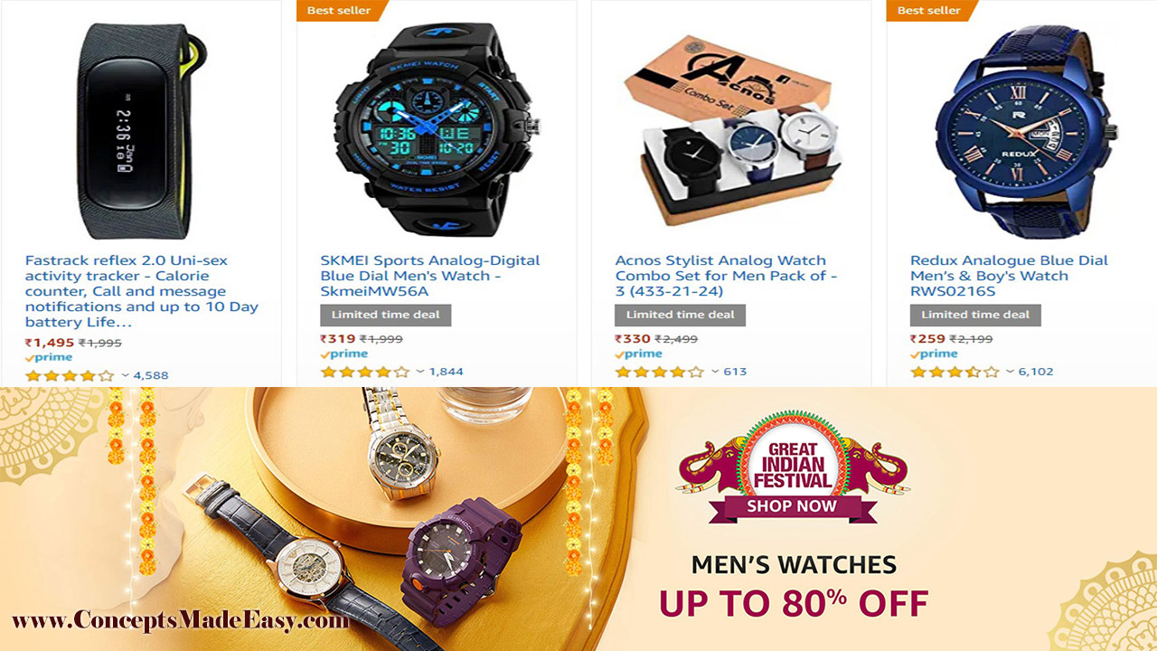 Amazon Great Indian Festival - Get Up to 80% off on Men's Watches and Women's Watches | 20000+ deals and Combo offers on Amazon Great Indian Festival