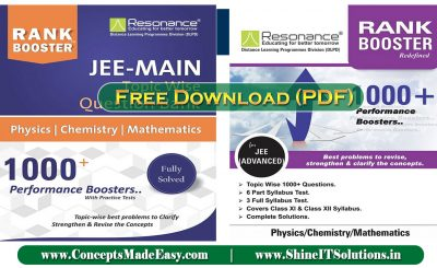 Download Resonance Rank Booster for PCM (JEE Mains + Advanced Examination) Latest Edition by Resonance Specially for JEE Mains and Advanced Examination 2021 Free of Cost from ConceptsMadeEasy.com