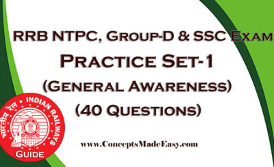 Download Practice Set-1 for RRB NTPC, Group-D and SSC Examination (General Awareness - 40 Questions) in PDF from ConceptsMadeEasy.com